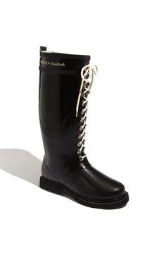 Ilse Jacobsen Hornbæk Short Rubber Lace Up Boots, Black