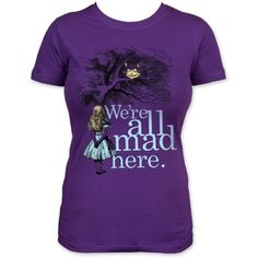 Alice in Wonderland Were All Mad Here T-Shirt on www.amightygirl.com
