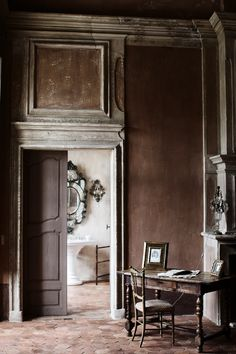 French chateau interior, pocket doors can be beautiful