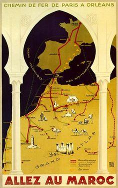 """""""Allez au Maroc"""" vintage poster  - Maroc Désert Expérience tours http://www.marocdesertexperience.com"""