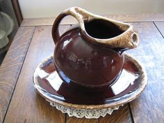 Vintage Brown Drip Hull Pottery Large Pitcher with Matching Oval Serving Platter