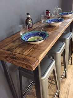 Ideas for kitchen bar table decor woods New Kitchen, Kitchen Decor, Breakfast Bar Table, Breakfast Bar Small Kitchen, Small Kitchen Bar, Kitchen Bars, Table Bar, Wooden Bar Table, Kitchen Bar Tables