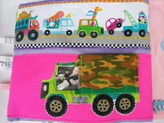 Quiet book page with baby photo driving the applique truck. I ( Zom Belles ) made this for my baby girl.