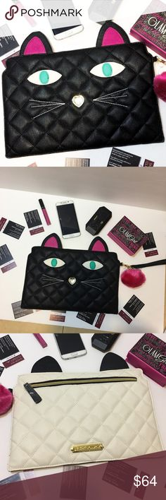 Black Friday SALE! Betsey Johnson cat clutch Betsey Johnson cat clutch envelope pouch purse NWT. MSRP: $68.00 Betsey Johnson Bags