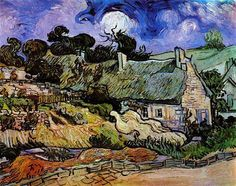 Houses with Thatched Roofs, Cordeville - Vincent van Gogh, 1890
