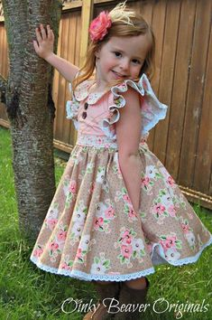 Clementine Vintage Style Dress with Extended Flutter Sleeves PDF – Foofoo Threads Sewing Patterns Toddler Dress, Toddler Outfits, Baby Dress, Kids Outfits, Sewing Patterns Girls, Girl Dress Patterns, Pattern Dress, Little Kid Fashion, Kids Fashion