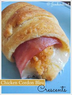 There are many recipes out there that are almost exactly like this one but I think that Jam Hands's recipe ended up with the most appetizing looking result.  Chicken Cordon Bleu Crescents  Super easy when you don't have much time.
