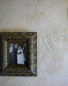 Damask stencil embossed by Sharon Marie Chester