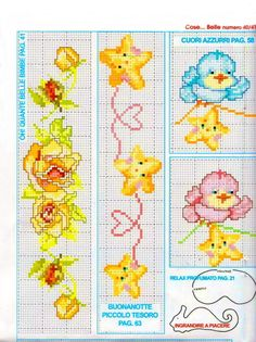 This Pin was discovered by еле Cross Stitch Boarders, Baby Cross Stitch Patterns, Cross Stitch For Kids, Cross Stitch Baby, Cross Stitch Flowers, Cross Stitch Charts, Cross Stitch Designs, Cross Stitching, Cross Stitch Embroidery
