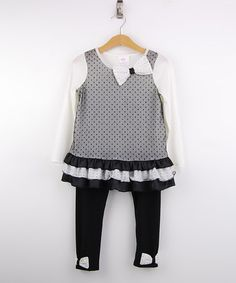 This Cream & Black Ruffle Tunic & Leggings - Girls is perfect! #zulilyfinds