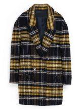 Yellow+Navy+Long+Sleeve+Plaid+Trench+Coat+US$86.23