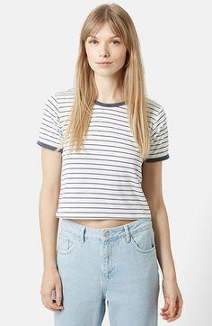 Topshop Stripe Crop Tee, $26