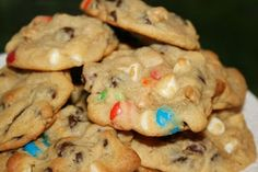 Boyfriend Cookies: 1 c softened butter - ¼ c white sugar - ¾ c brown sugar - 3½ oz. instant vanilla pudding mix - 2 eggs - 1 t vanilla extract - 2¼ c flour - 1 t baking soda - 1 c milk chocolate chips - 1 c semisweet chocolate chips - ½ c white chocolate chips - ½ c peanut butter chips - ½ c M's - ½ c Reese's Pieces