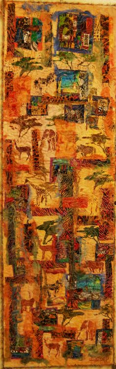 """Textural Collage: 18.5"""" x 60""""In this African series I have been able to use all my favourite African fabrics. Set on 100% cotton canvas, which has been painted. I have used painted cheesescloth for blending and depicting the landscape. Machine stitching represents the contours of the African topography. Textural cord has been used on the binding. The top has heat reacted tulle. This is a nice long piece, would look good in a stairwell.This piece is ready to hang and has been UV treated. You…"""