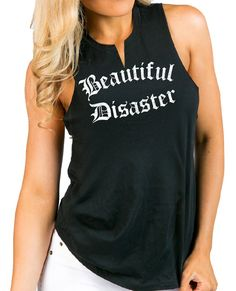 59a5bfb9 Black and white beautiful disaster tank top outfit for women. This tank has  a slashed