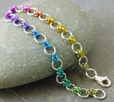 Rainbow niobium & recycled silver bracelet, delicate and bold half-Byzantine - The High Road Wire Wrapped Jewelry, Wire Jewelry, Jewelry Crafts, Beaded Jewelry, Beaded Bracelets, Jewlery, Do It Yourself Jewelry, Chainmaille Bracelet, Crafts