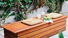 This DIY garden or courtyard bench seat provides hidden storage. It's Australian, so it's all metric measurements.