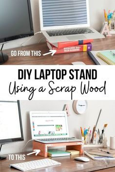 Love this easy tutorial for a DIY laptop stand for desk. This wooden laptop stand is simple and this tutorial shows how to make it along with a template and plans! #anikasdiylife #woodworking #scrapwood Kreg Jig Projects, Scrap Wood Projects, Woodworking Projects That Sell, Diy Woodworking, Furniture Projects, Furniture Plans, Diy Furniture, Wood Projects For Beginners, Wood Working For Beginners