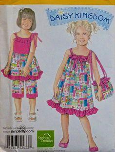 DAISY KINGDOM Sewing Pattern - Girls Dress Top Capri Pants Purse - OOP #patterns4you #daisykingdom
