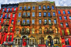 The buildings on St. Mark's Place in the East Village, NYC, that were used on the cover of Led Zeppelin's 'Physical Graffiti album.