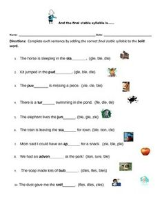 These worksheets are designed to give students practice identifying and choosing final stable syllables.