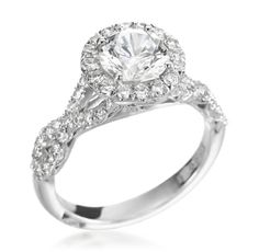 Tacori - Petite Crescent Collection Platinum 0.70ctw Diamond Round Setting (Available at Michael C. Fina)