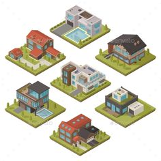 Isometric House Icon Set by macrovector Isolated colored and isometric house icon set with piece of landscape and different types of houses vector illustration. Editable