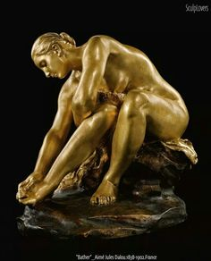 Artwork by Aimé Jules Dalou, baigneuse (bather), Made of bronze, gilt and brown patina Carpeaux, French Sculptor, Bronze, Small Sculptures, Art Sculpture, Art Nouveau, Artwork, 19th Century, Chair Height