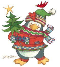 Christmas art, snowman art, Santa Claus art by renowned painter Janet Stever.