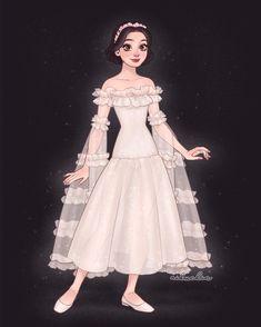 Disney Princess Fashion, Disney Princess Drawings, Disney Sketches, Disney Drawings, Snow White Drawing, Snow White Art, Disney Artwork, Disney Fan Art, Pixar