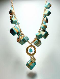 Polymer Clay Retro Cube Statement Necklace #jewelry #inspiration #polymer