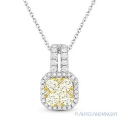 The featured pendant is cast in 18k yellow & white gold and showcases an elegant design paved with round brilliant cut diamonds encrusted on the square outlines and all the way up to the loop.