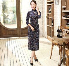 Traditional Pleuche Floral Printing Full Length Cheongsam Qipao Dress - iDreamMart.com