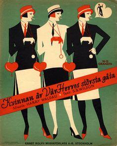 Illustrated Sheet Music by N. G. Granath (1896-1937), 'Kvinnan ar Var Herres storsta gata'. (Sweden)