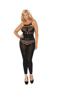 Plus Size Elegant Moments Opaque Footless Bodystocking Opaque halter neck footless bodystocking with cut out detailing Opaque Stockings, Halter Neck, Thigh Highs, Thighs, Underwear, Jumpsuit, Plus Size, Lingerie, Elegant