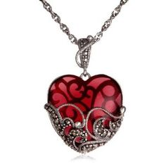Marcasite and Garnet Colored Glass Heart Pendant