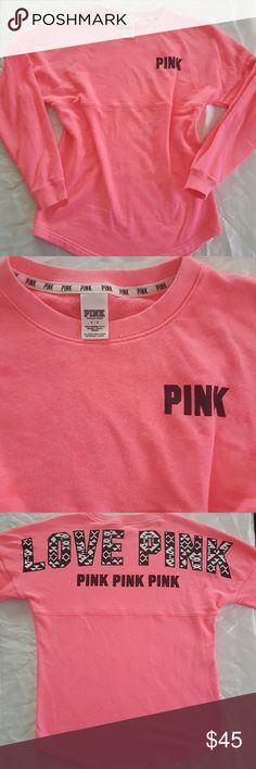 VS Pink Aztek Crew Like new, no flaws, neon peachy pink color, fits oversized like medium. PINK Victoria's Secret Sweaters Crew & Scoop Necks