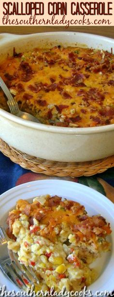 corn casserole is a wonderful side dish for any meal. The bacon makes this casserole.Scalloped corn casserole is a wonderful side dish for any meal. The bacon makes this casserole. Corn Recipes, Side Dish Recipes, Vegetable Recipes, Recipies, Corn Dishes, Vegetable Side Dishes, Side Dishes For Lasagna, Fall Dishes, Tapas