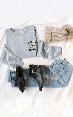 Light Grey Alien Print Sweatshirt with Denim and Pom Pom Knit Hat