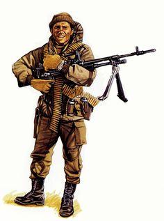 Soldado con ametralladora FN MAG, 12º Reg. de Infantería, Goose Green, 28 de Mayo de 1982.