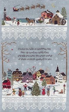 Victoria Sampler Christmas Village - Cross Stitch Pattern. I heard the bells on Christmas day their old familiar carols play and wild and sweet the words repeat