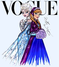 Hayden Williams Fashion Illustrations | Disney Divas for Vogue by Hayden Williams: Elsa & Anna