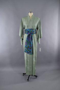 1960s Vintage Silk Kimono Robe / Silver Sage Green Ferns