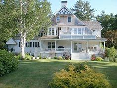 A veranda with a house