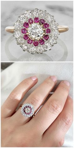 An antique engagement ring from the Edwardian era, circa 1910. With diamonds and rubies.
