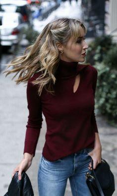 burgundy shoulder slit turtleneck sweater