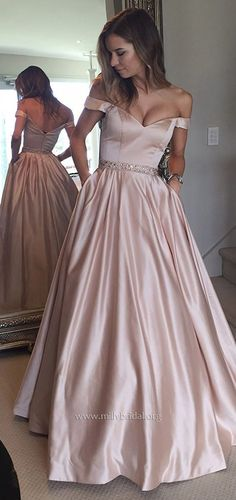 Ball Gown Prom Dresses,Pink Prom Dresses,Long Prom Dresses 2018,Off-the-shoulder Prom Dresses For Teens,Satin Prom Dresses with Beading