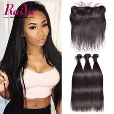 Lace Frontal Closure With Bundles Peruvian Virgin Hair With Closure Peruvian Straight Human Hair Bundles With Frontal Closure ** Ini pin AliExpress affiliate.  Melihat item dalam rincian dengan mengklik gambar