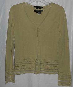 ETCETERA Women 2 Pc Set Tank & Long Sleeve Sweater Green Sz S Small  #Etcetera #Twinset