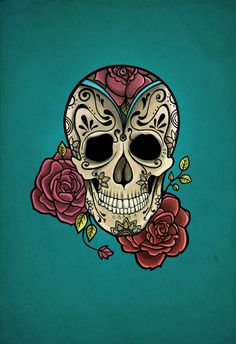 Mexican Skull- this would make a cool painted fondant cake!!!!!